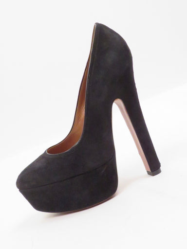 "alaia black suede extra tall pumps. 1.5"" platform, and 6"" hee"