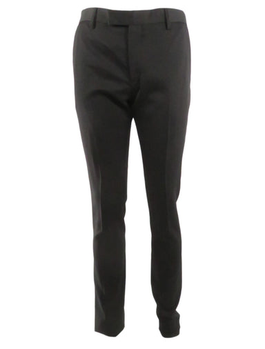 saint laurent black twill pants. features buttoned welt pockets at back and waistband tab with inner hook closure. regular cut with slightly tapered legs. serging at cuffs, partially lined.