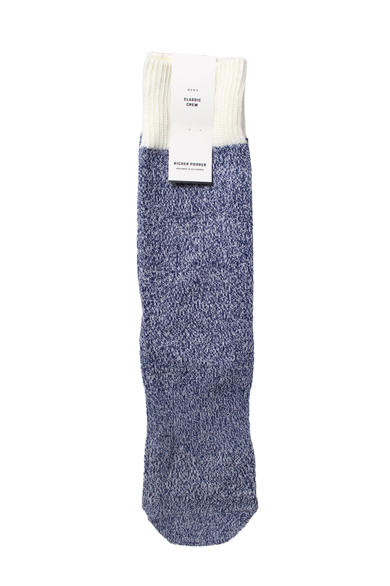 navy blue static crew sock by richer poorer.
