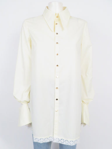 leo & lin white/cream button down shirt features sharp point collar and cut out flair cuffs with hidden button.