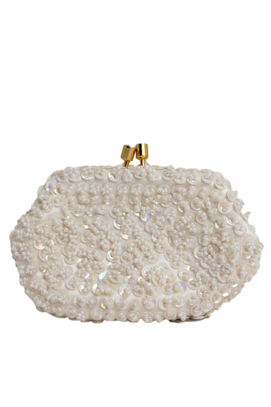 description: vintage ivory coin purse. featuring iridescent sequins overall and gold hardware.