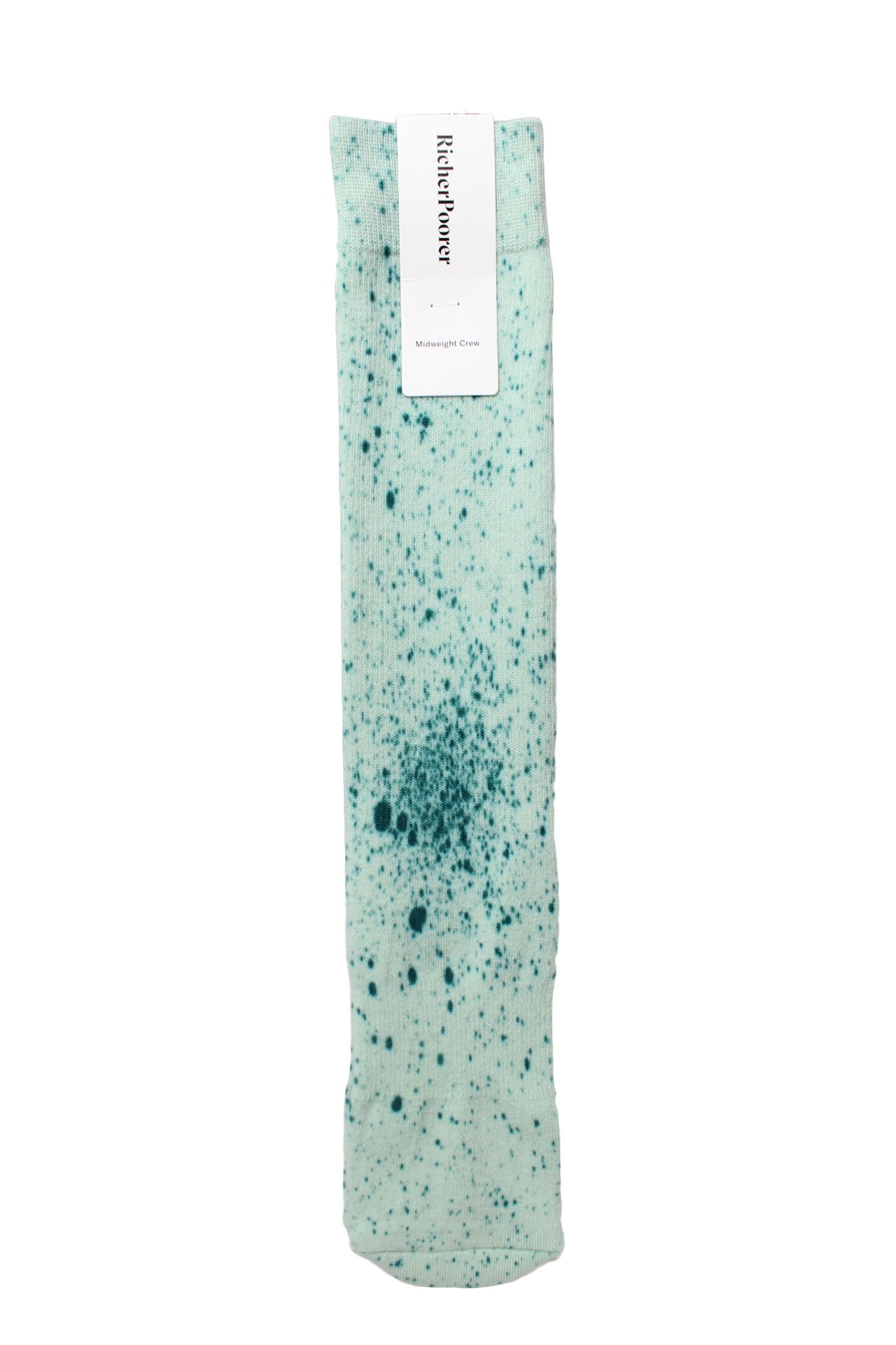 aqua splatter mid-weight crew sock by richer poorer.