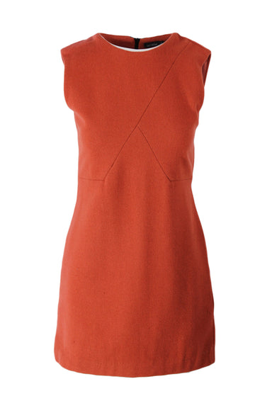 kate spade saturdays orange/red sleeve less wool mini dress. features geometric lines at chest.