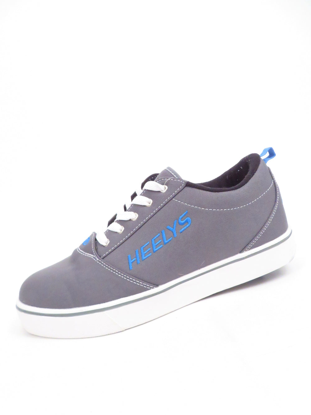 heelys 'pro 20' grey/white/royal shoes. features branding embroidered at tongue, heel, and sides. comes with an optional wheel or flat plate at heel with tool.