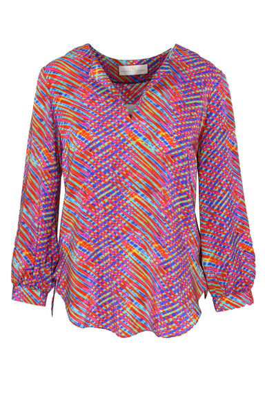 amanda uprichard multicolored silk top. features 70s inspired print, open v-neck collar and relaxed balloon sleeve with cuff.