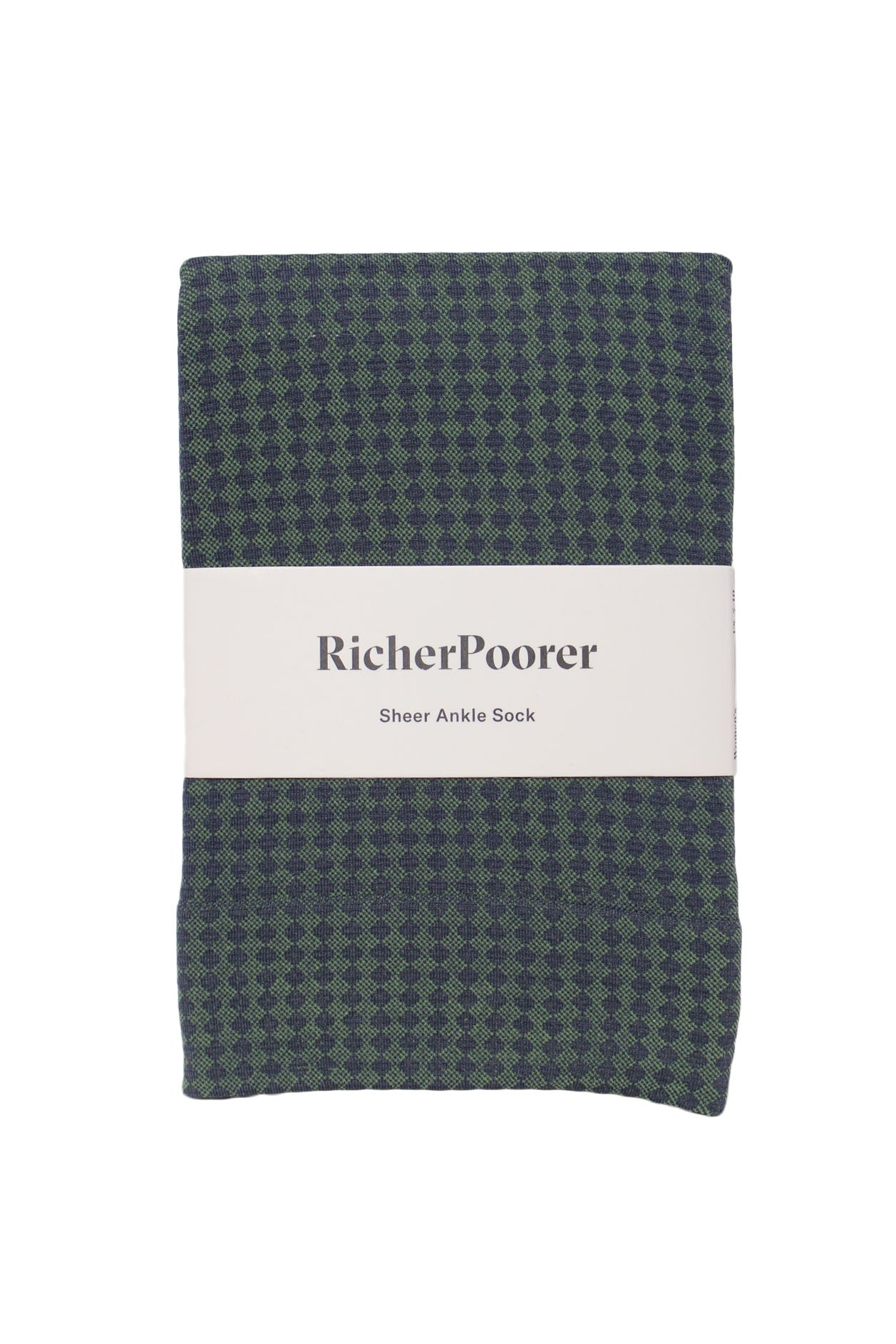 blue and green checkered sheer ankle sock by richer poorer.