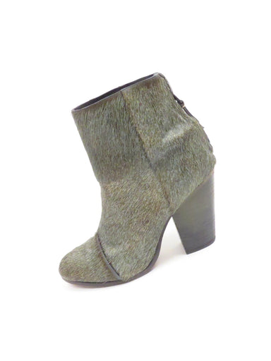 rag & bone moss green calf hair boots. features stacked heel and back zip closure for ease of wear
