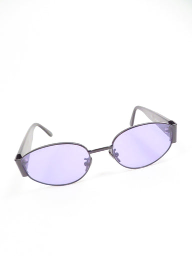 retrosuperfuture 'x purple haze' wide oval purple lens black framed sunglasses. features 'super' logo etched at left lens.