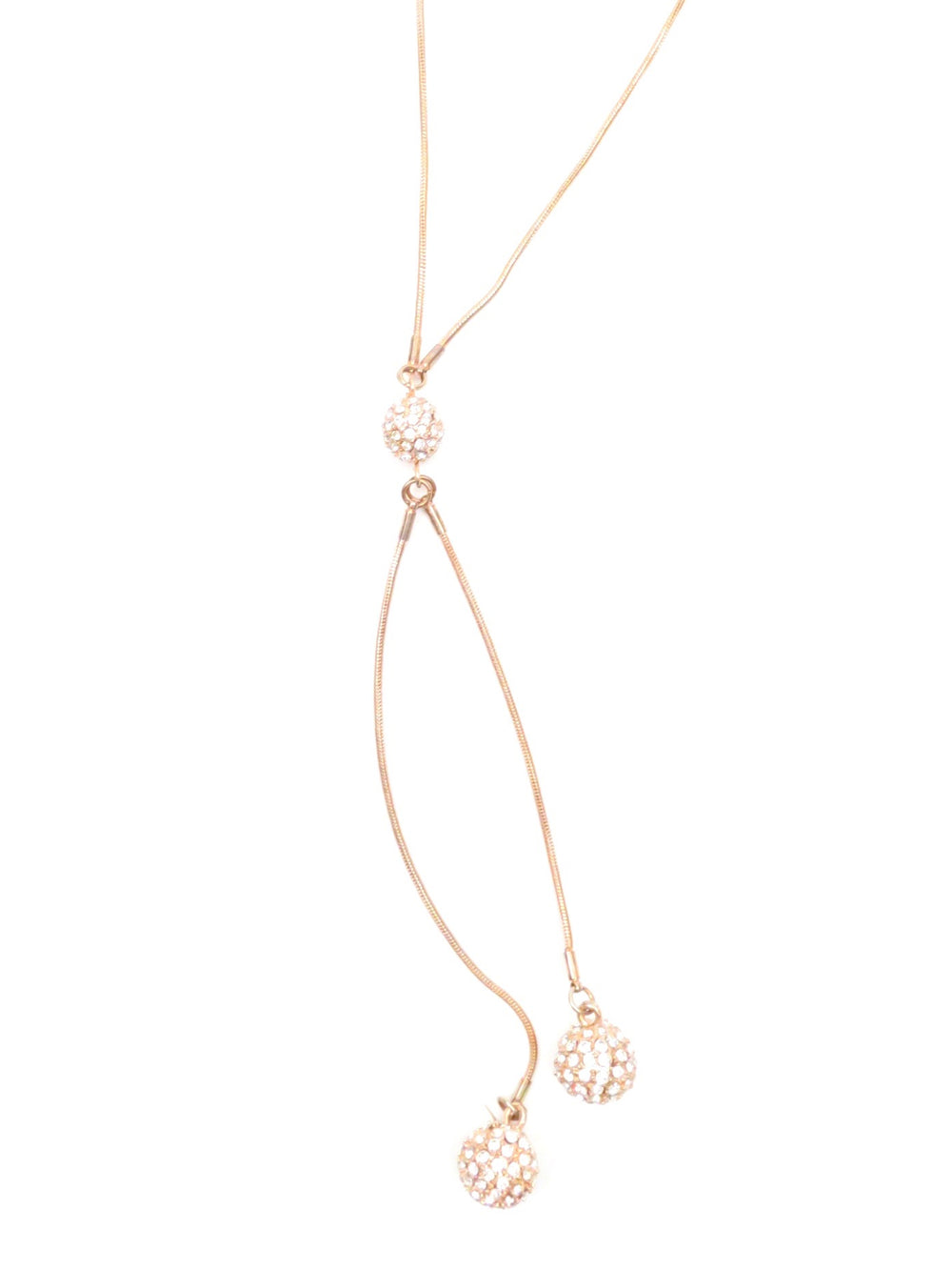 unlabeled rose gold long hanging rhinestone charm necklace. featuring three hanging rhinestone studded ball ornaments. adjustable clasp closure.