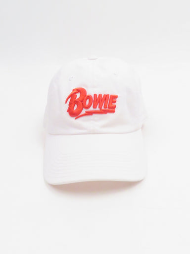 american needle white 'bowie' cap. features red 'bowie' text on the crown.