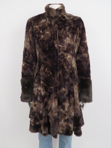 hilary radley chocolate brown faux fur flared coat. features stand-away collar and oversized cuffs. mid-length with clasp and d-ring front closure. lined.