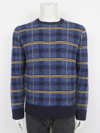 'lambswool check crew' blue and mustard sweater by todd snyder. features knit plaid design and ribbed crewneck, waist, and cuffs in a regular cut.