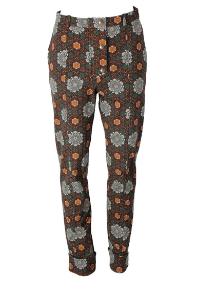 kenzo paris multi-colored  mandela print pants. features cuffed hem, two side pockets, & snap button & zipper closure.