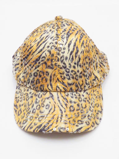 unlabeled sequin animal print cap. features shimmer from clear sequins over a tiger and leopard print