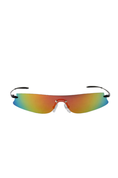roberi & fraud red, orange, yellow, green, blue polarized style sunglasses. features thin lenses.