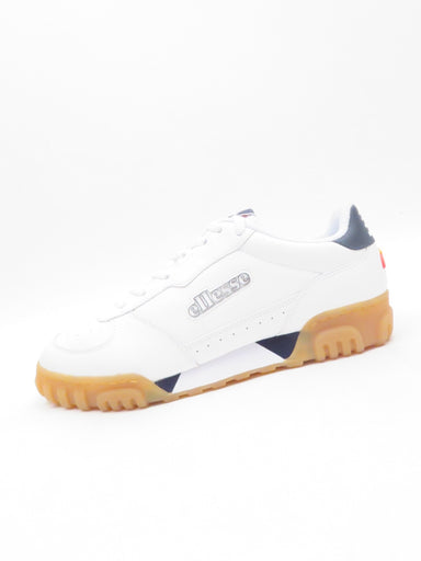 ellesse white and navy 'tanker lo' leather sneakers. features raised branding and triangular design at midsole with tpu rigid outsole.