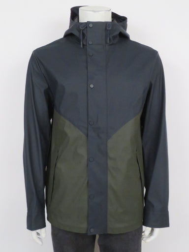 hunter navy and dark olive anorak rain jacket. features rubberized finish and corded hood with visor. regular cut, hidden front zip closure with snap placket. partially lined.