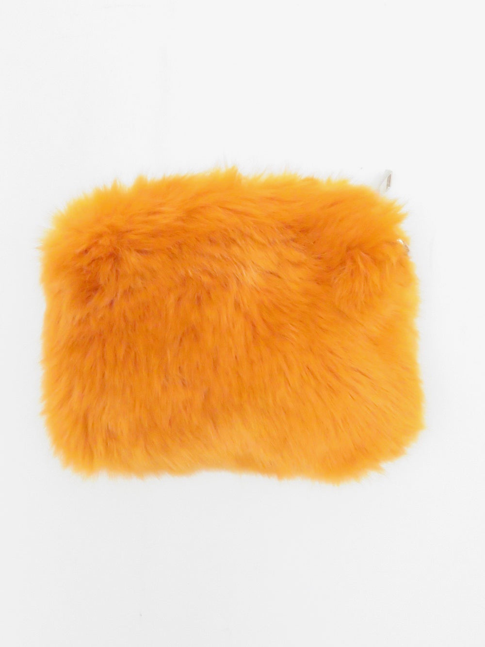 zara accessories rectangular pumpkin-colored faux fur pouch. features silver top-zip closure with side ring and soft, plush material. lined.
