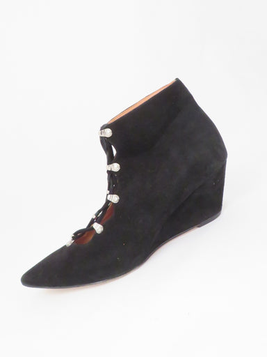 "sigerson morrison black suede lace up boots. features keyhole lace up with 2.5"" heel"