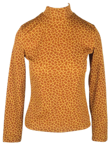 vintage philosophy di alberta ferretti brown giraffe turtle neck top. features hidden zipper at back panel and ribbed knit material.