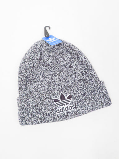 adidas originals 'trefoil' black and white knit beanie. features two-tone heathered knit and embroidered logo.
