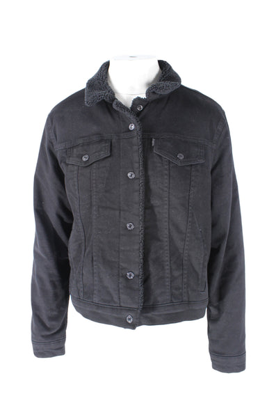 levis black denim jacket. features faux-shearling interior and collar with exterior pockets and black button clasp closures down center.