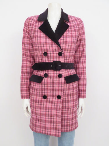 lazy oaf pink 'g.e.m. checkin out blazer dress'. features contrast velvet lapel and trim in black and all-over gingham check print. concealed center front zipper opening with button closure, detachable belt. lined.