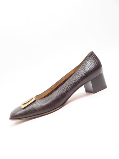 "vintage salvatore ferragamo  brown croc style shoes. featuring brown leather croc embossed leather upper. large gold tone buckle detail at toe. 1.75"" heel"