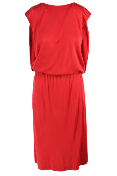 calvin klein red maxi tank dress. features an elastic waist, round neckline, & draped back & sides.