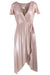 bhldn metallic blush flutter wrap dress. featuring tie closure with raw end hems, short flutter sleeves, gathered shoulders, v neckline, and inner lining. with thread belt loops at waist to keep tie in place.