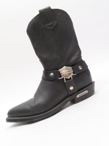 description: harley davidson women's western style motorcycle boots. pointed toe. silver hardware. pull on style.   color: black, silver  size: 7 m  fabrication: leather  condition (all items are secondhand): gently used, pre-owned condition.