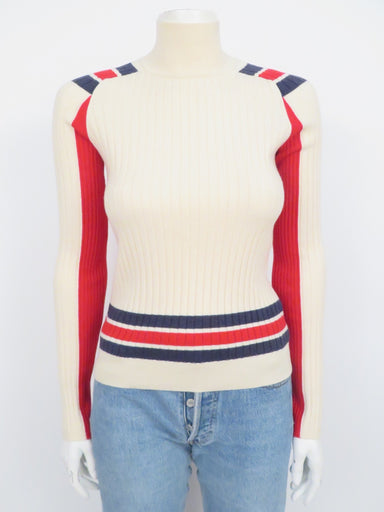 rag & bone ribbed knit cream-colored long sleeve sweater. features red and navy stripe details and high collar in a fitted cut.