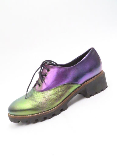 miista iridescent rainbow leather shoes. lace up closure. iridescent rainbow leather upper, some scuff marks/scratches (see photos