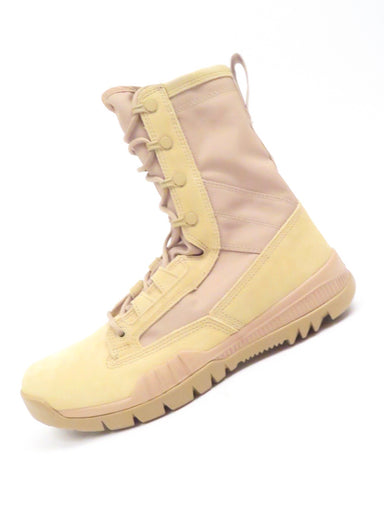nike british khaki sfb field 8 inch leather boots. made for outdoor terrain, this boot is formed with suede and breathable canvas upper, supported by a dynamic lacing system on the extended shaft for stability. the lightweight phylon midsole gives way to an outsole that features a variety of lugged traction patterns.