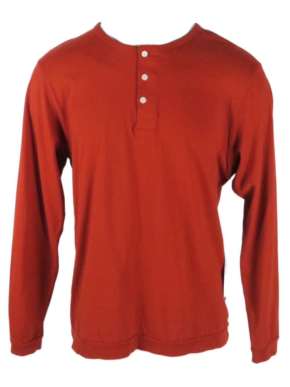 saturdays new york city brick red 'mitch' long sleeve henley shirt. features 'saturdays new york city' embossed at font left above hem. three button placket.