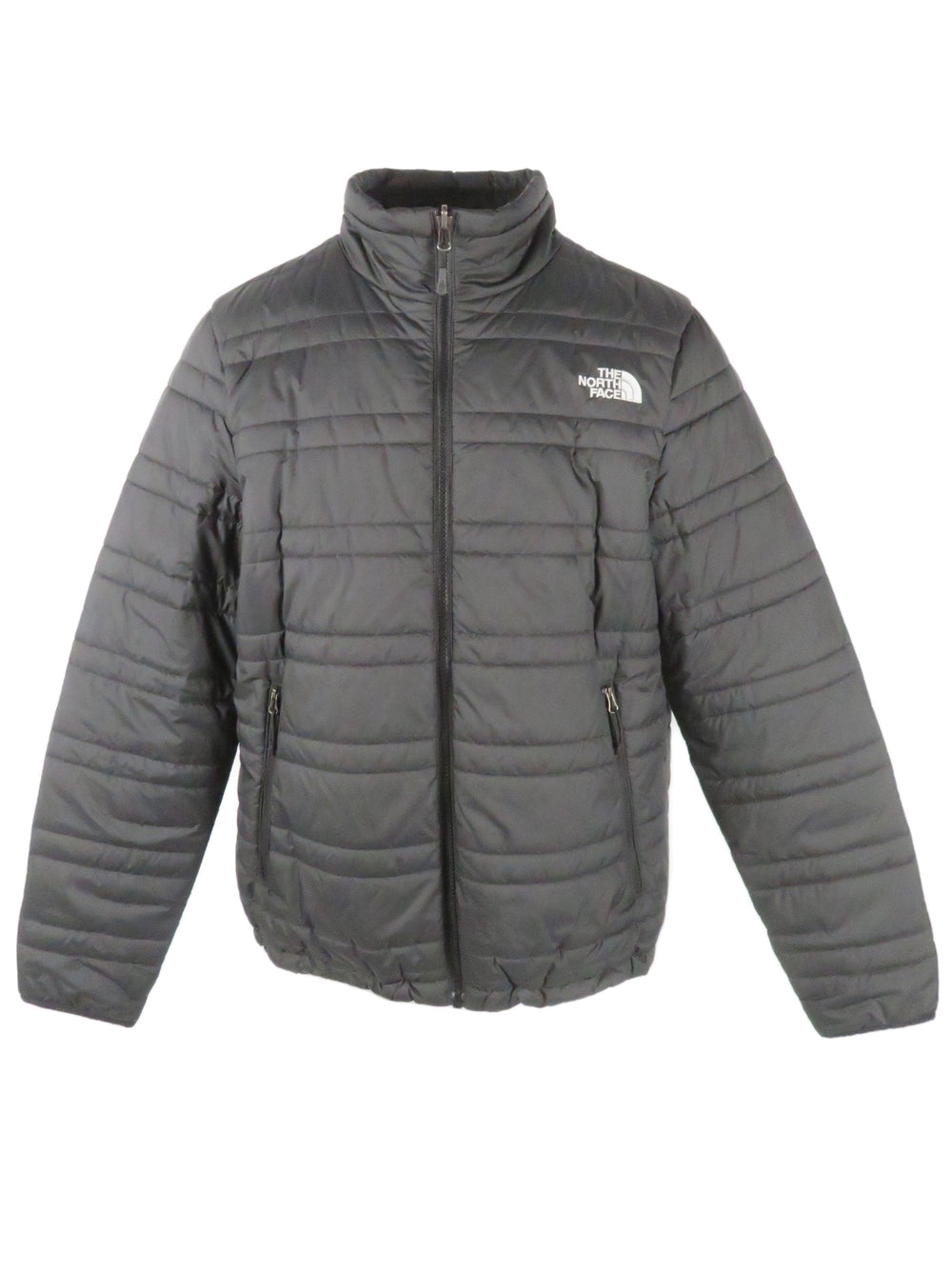 the north face black front zip puffer jacket. features 'the north face' logo embroidered at left breast and back right of shoulder. zip hand pockets at sides.