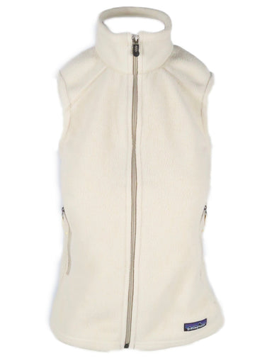 patagonia synchilla cream vest. features full zipper down center front, zippered pockets and feminine silhouette.
