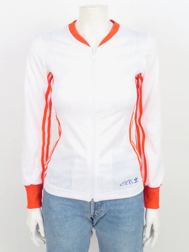 adidas bl crown zip up jacket. original tags attached. tonal crown print, with red trim.