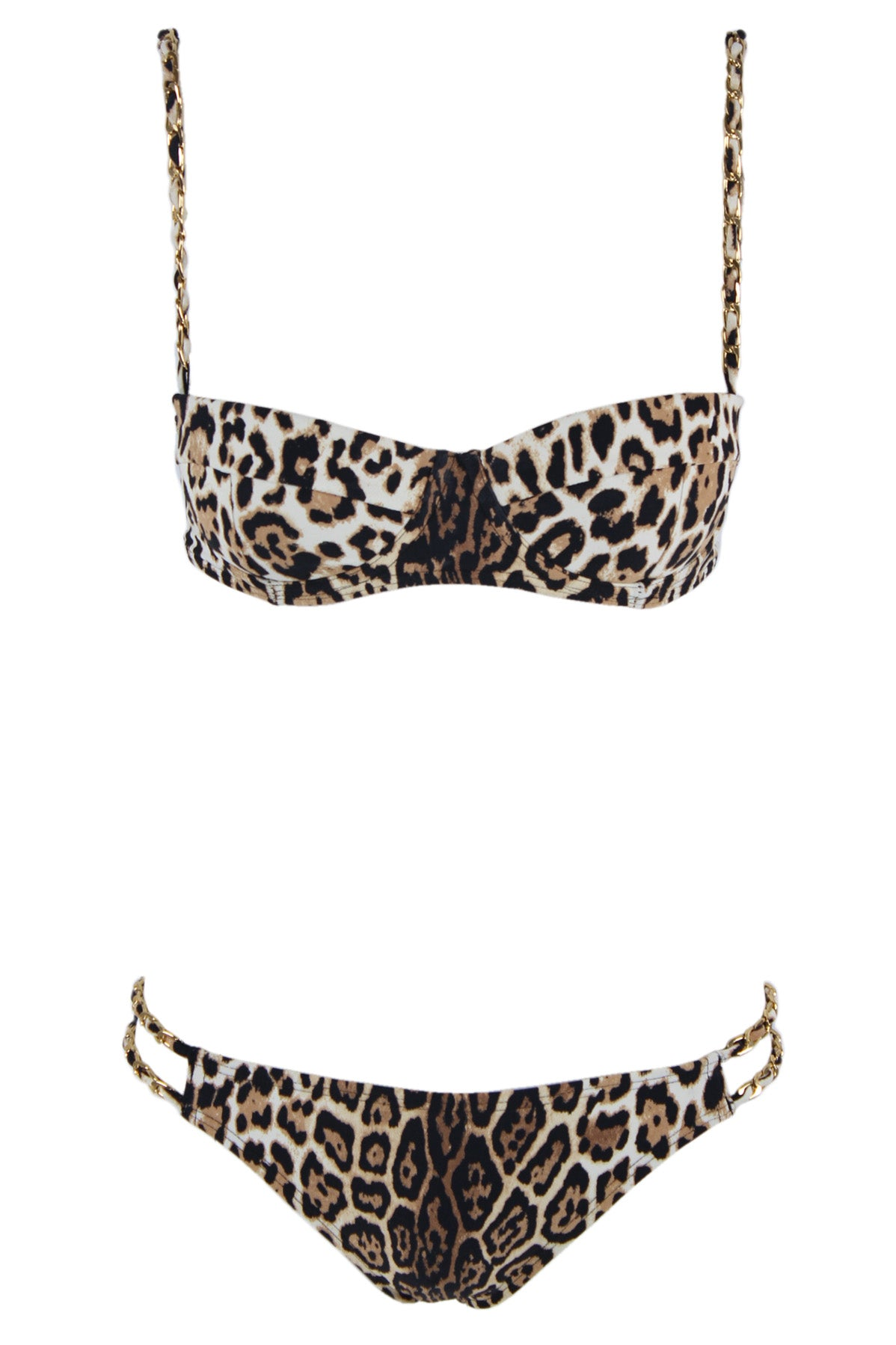 juicy couture brown bikini. features gold tone metal accents for the straps, and a jaguar print throughout- for both top and bottom. sold as two piece. top extra small, and bottom medium.