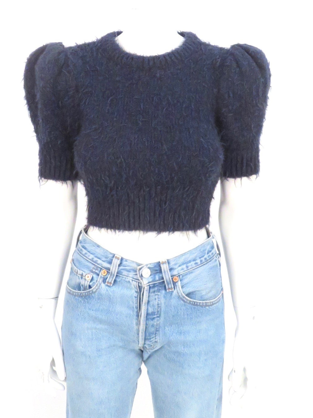 michael kors collection midnight blue plush knit crop top. features short puff sleeves and pulled yarn textured finish. unlined. *please note: this is a spring 2020 sample item*