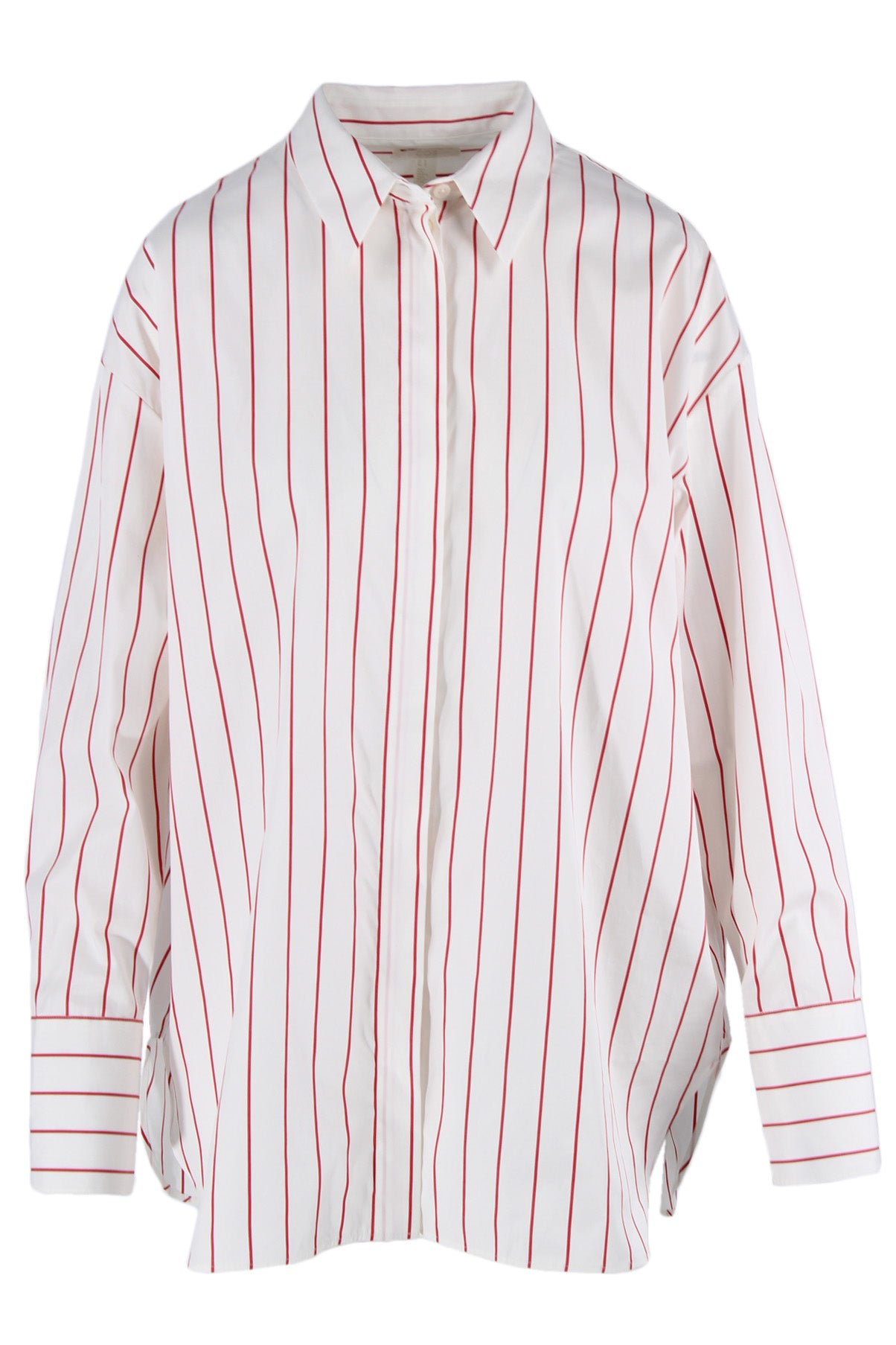 cos white long sleeve collar top. features a button down closure, buttoned sleeve cuffs, & red stripes throughout.