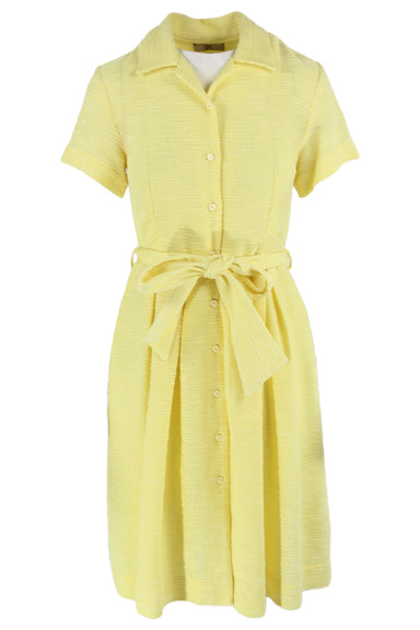 orta kiely pale yellow textured short sleeve collar dress. features a button down closure & belt with belt loops.
