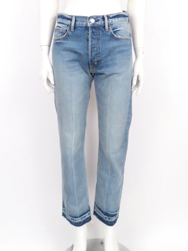 helmut lang straight leg cropped high waisted jeans. distressed design