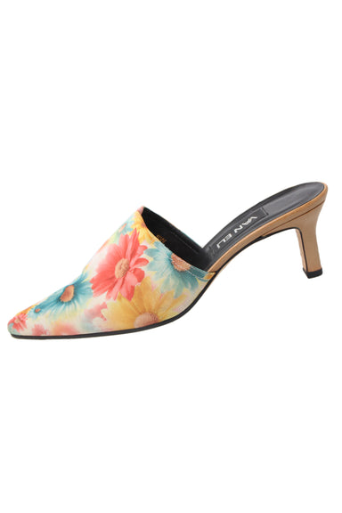 vintage vaneli multicolored mule heels. features multicolored floral print exterior, black leather soles and light brown heels.
