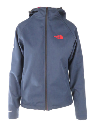 the north face navy long sleeve hooded jacket