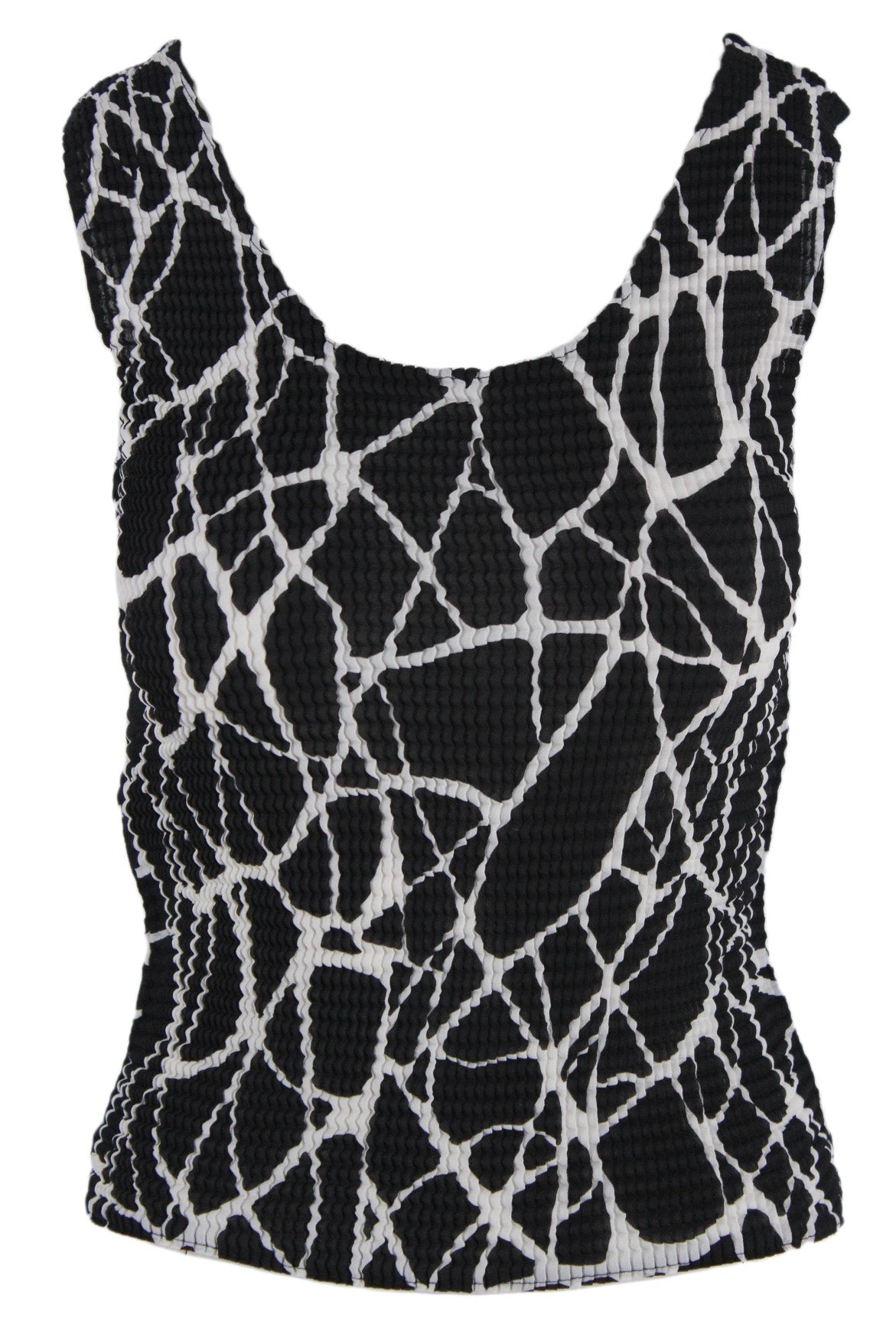 vintage black sleeve-less top. features white contrast details, and a conceptual crinkle like design.