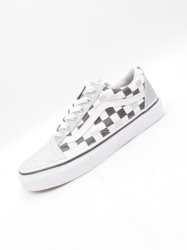 vans black and white checkered with silver glitter sneakers. lace up closure.