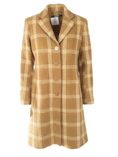 dkny multi-brown toned checkered coat