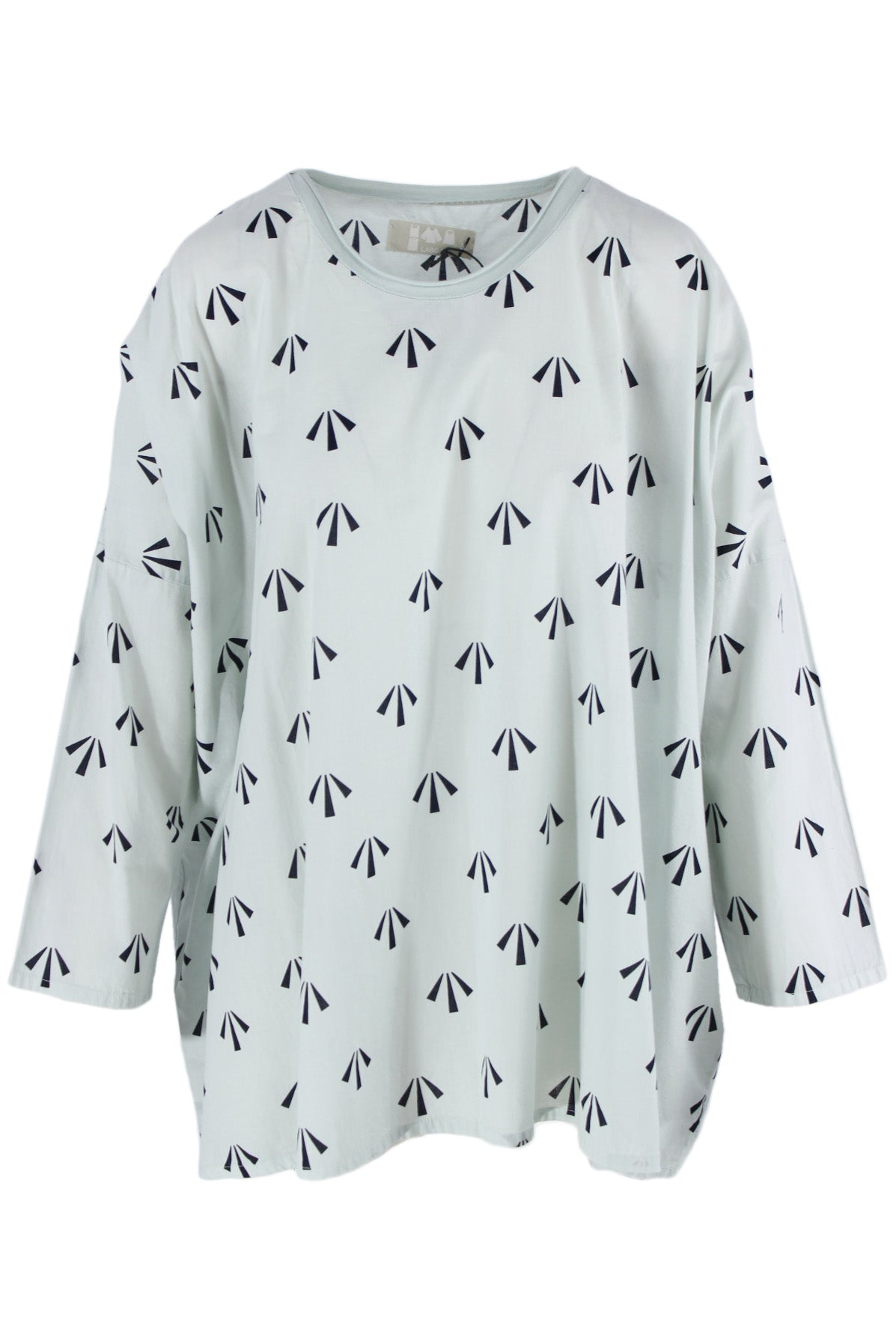 labo.art light blue printed long sleeve top. features light blue exterior with black geometric print throughout, round neckline and long sleeves.