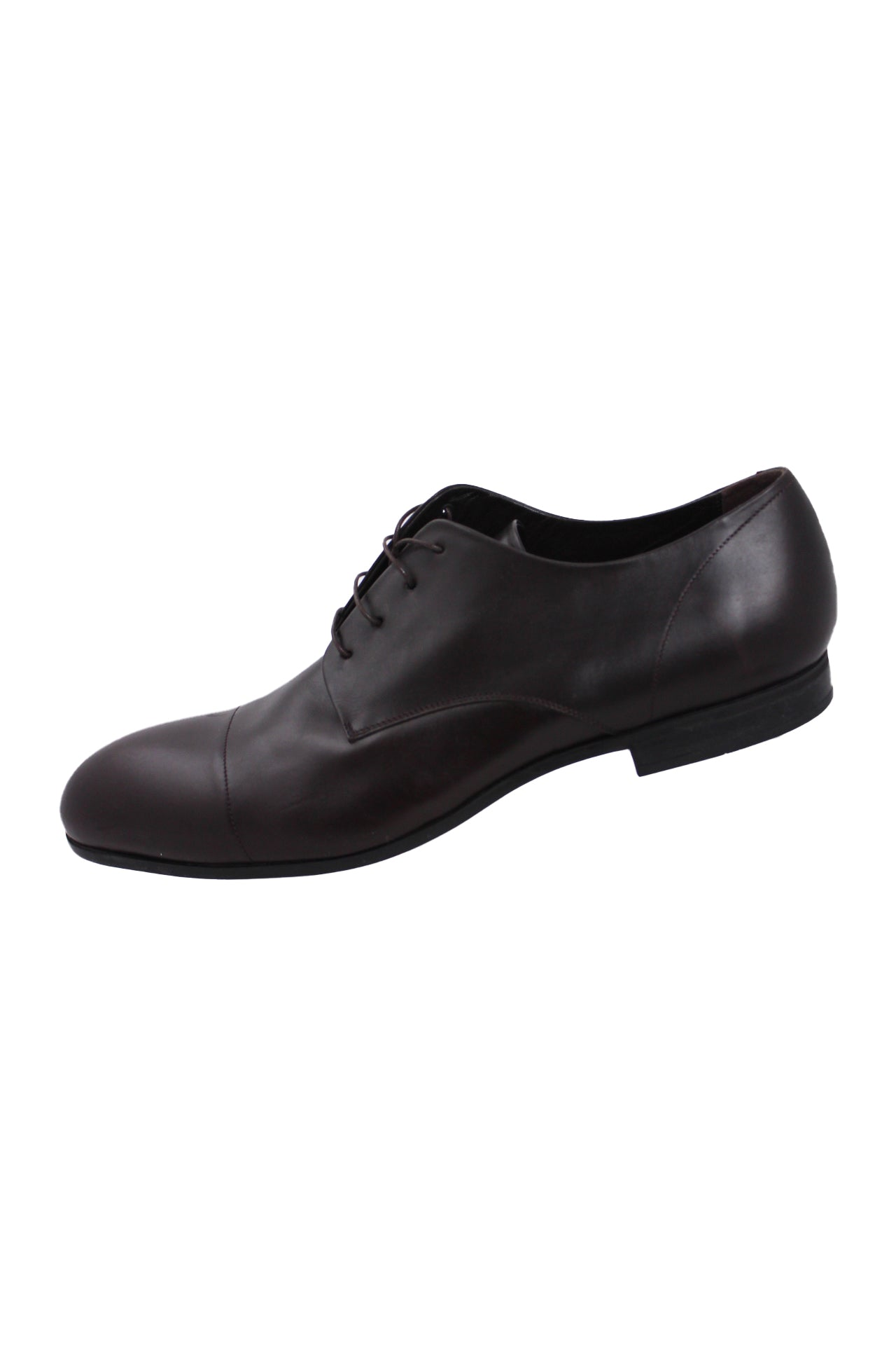 "calvin klein collection espresso leather derby shoes. features tonal stitching throughout with cord lace up closure. almond shaped toe, 0.5"" heel."